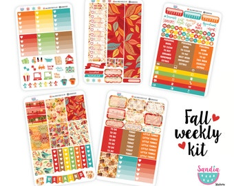 Fall Weekly kit, Autumn Planner Stickers, perfect for Erin Condren Planner and other planners.