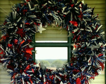 Red, White and Blue Patriotic Garland Wreath