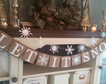 Let It Snow Banner, Let It Snow Sign, Christmas Decoration, Christmas Decor, Snowflake Banner, Christmas Banner, Let It Snow Garland,
