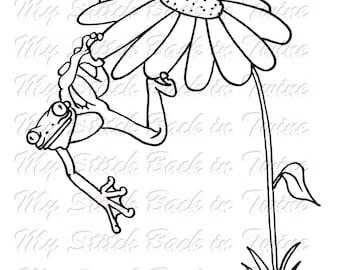 Digital stamp colouring image - flower froggy. jpeg / png
