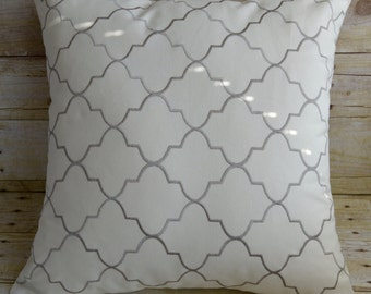 White and Gray Moroccan Pillow Cover
