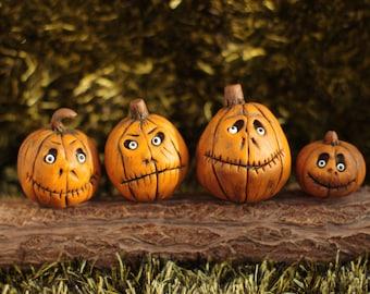4 piece. Halloween. Miniature pumpkin. Dollhouse witches . Pumpkin Eye for witch house.