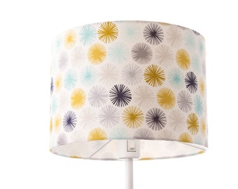 SAMPLE SALE - Large cheerful colorful pattern floor drum lampshade, 30 cm x 21 cm, large, lamp shade