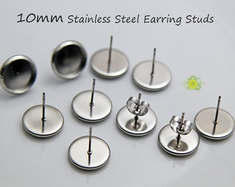 10mm Stainless Steel Earrings Studs-Earring Posts-10mm Round Bezel Earring Blank Studs-Bezel Cabochon Setting-10 mm earring stud-Choose Qty