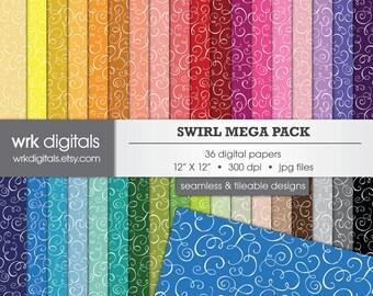 Swirl Mega Pack, Seamless Digital Paper Pack, Digital Scrapbooking, Instant Download