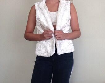 Fuzzy Faux Fur Vest // Cream Fur Vest // Small Vest