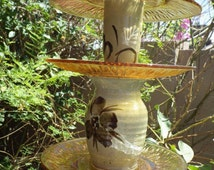 Recycled and Vintage Glass Birdfeeder or Planter