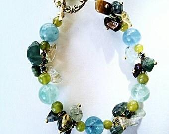 Wildlife ,very beautiful gemstones bracelet, handmade beaded yellow green brown gemstones bracelet, citrine amber tiger eyes bracelet