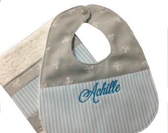 Personalised Bib and Burp Cloth Set Bavaglino bebè e panno anti rigurgito coordinati