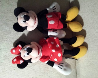 "13"" Plush Vintage Disney Mickey & Minnie Mouse dolls. Clean No damage"