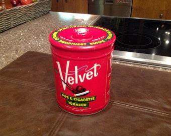 Vintage Velvet Ppe & Cigarette Tobacco Red Tin Can
