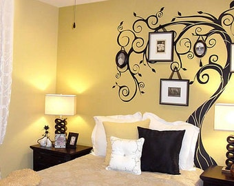 Family Tree Wall Decal, photo trees decals ,tree photo decal,curling tree ,children wall Decals, baby room Sticker