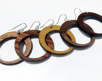 Wood Hoop Earring - Lightweight Dangle Wooden Earring Pair - Mahogany Wood & More - Drop Circle Earring