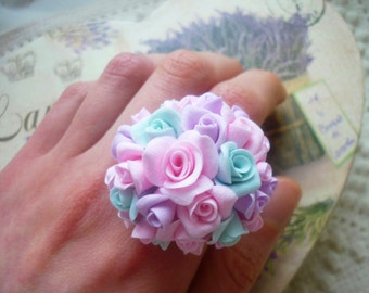 Ring rose flower Boho roses ring Wedding roses ring Bridesmaid flower ring Coctail rose ring Party floral ring Rose clay ring Turquoise