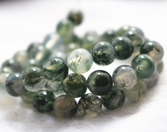 8mm Moss Agate,Natural and Smooth Round Beads, 15 inch Full Strand