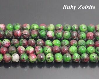 Ruby Zoisite Gemstone Round Beads,6mm 8mm 10mm 12mm,15 Inch Full Strand