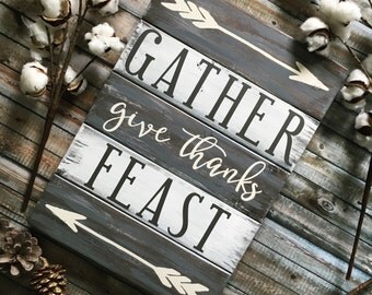 Gather, Give Thanks, Feast sign | Fall wood sign | Dining room sign | Rustic wood sign | Dining room art | Fall decor | Pallet sign