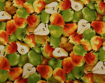 Pears Green And Orange Quilting Fabric