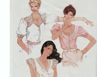Romantic Blouse Lolita Blouse McCALLS 7106 sz 10 b 32.5 UNCUT Prairie Blouse Prairie Chic Lace Blouse Sweetheart Neckline Steampunk Blouse