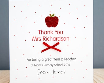 Personalised Handmade Teacher Thank you Card, Teaching Assistant