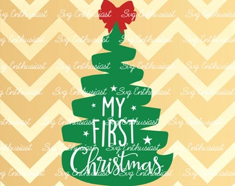 My First Christmas SVG, Christmas tree Svg, My 1st Christmas Svg, Baby Christmas SVG, New born Svg, Cricut, Dxf, PNG, Cut Files, Vector,