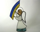 Stained glass Angel  3D sculpture Tiffany Art glass decor Candle holder