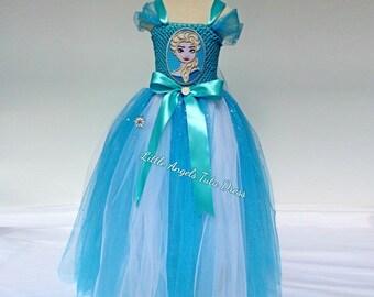 SALE - Inspired Frozen Elsa Tutu Dress. Princess Elsa Long Dress. Handmade Full Length & Girls elsa dress   Etsy