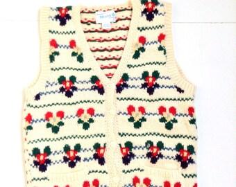 Vintage sweater vest. Floral print wool vest.