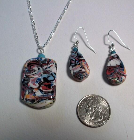 Mokume Gane Earrings: Mokume Gane Pendant With Matching Earrings. Lacy By Theclaypad