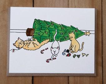 Cat Christmas Card, Funny Christmas Card, Funny Cat Card