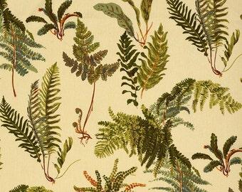 SCHUMACHER ALL OVER Ferns Les Fougeres Linen Fabric  10 Yards Antique
