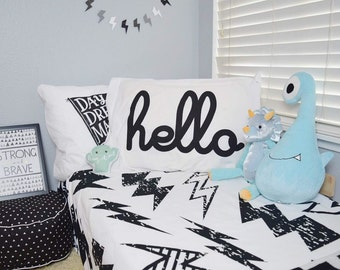 Personalize Monochrome Bedding for Kids - Monochrome Duvet for Boys Name Duvet Personalized Duvet Set for Kids Custom Kids' Lightening Bolt