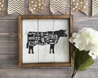 Farmhouse Sign - Country Decor - Farmhouse Cow Sign - Farmhouse Kitchen Sign - Rustic Decor - Rustic Sign - Framed Sign - Cow Cuts