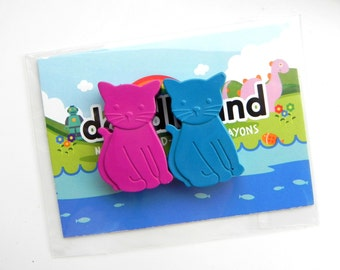 Cat Crayon Party Favours | 10 x Twin pack | Novelty Crayons | Cat lovers | Unique Gift | Kids wedding favours | Kitten | Party bag Filler