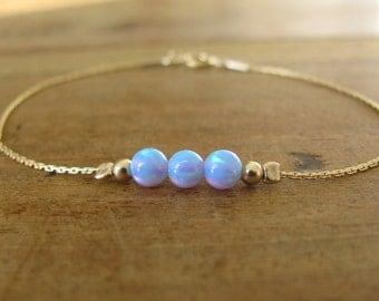 Blue opal bracelet, opal bracelet, opal bead bracelet, opal gold, gold bracelet, opal jewelry, minimalist bracelet, ball bracelet