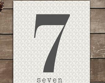 Numbers Print, 7, Seven, Vintage Inspired, Typography Art