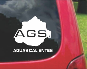 2 Pieces Aguascalientes Mexico Outline Map  Stickers Decals 20 Colors To Choose From.  Free U.S.A Free Shipping