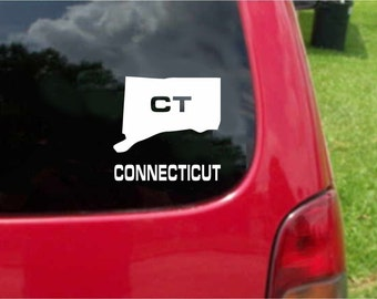 2 Pieces Connecticut CT  State USA Outline Map Stickers Decals 20 Colors To Choose From.  U.S.A Free Shipping