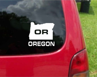 2 Pieces Oregon OR State USA Outline Map Stickers Decals 20 Colors To Choose From.  U.S.A Free Shipping