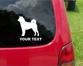 Set (2 Pieces) Shiba Inu Dog Sticker Decals with custom text 20 Colors To Choose From.  U.S.A Free Shipping