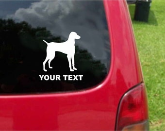 Set (2 Pieces) Vizsla Dog Sticker Decals with custom text 20 Colors To Choose From.  U.S.A Free Shipping