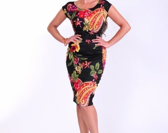 Black pencil dress with paisley print
