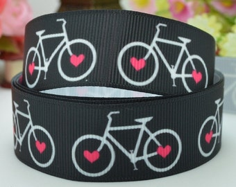 7/8 inch - Love Bicycles on black - Bike - bicycle - Sports -Printed Grosgrain Ribbon for Hair Bow