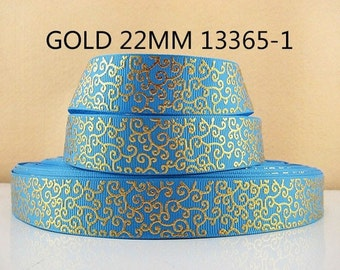 7/8 inch Gold Swirls on Turquoise 13365 -  Printed Grosgrain Ribbon for Hair Bow