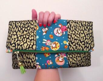 Black,Gold little girl fold over bag