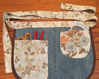 Kitchen and garden apron. Upcycled denim and vintage sheets. Brown floral