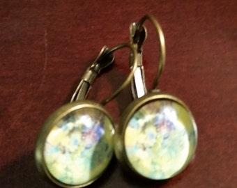 Handmade Yellow Solar Watercolor French Earrings