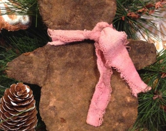 Primitive Valentine Gingerbread Man Bowl Fillers with Pink Ties Set of 4 Handmade Scented Ornies or Cookies Grungy Primitive Decor
