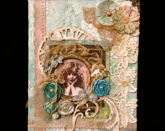 Cottage Chic Wall Hanging~ Victorian Collage Canvas,  Paris Apartment, French Decor, Vintage Photo, Antique Lace, Vintage Buttons, Jewelry