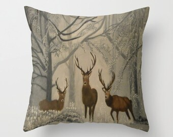 Deer in the woods throw pillow - scottish scenery - cushion cover